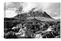 Buachaille Etive Mor black and white, Canvas Print