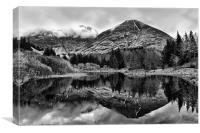 Mountain Loch Reflections in Scotland, Canvas Print