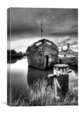 The sand barge tied up, Canvas Print