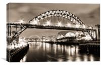 The Bright Lights of Newcastle Upon Tyne, Canvas Print