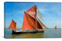 Thames Barge Edme watercolour effect, Canvas Print