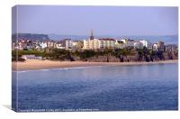 Penally Beach,Tenby Town., Canvas Print