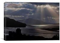 Eilean Donan Castle Sun Rays, Canvas Print