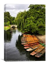 Punting On The Cam, Cambridge., Canvas Print