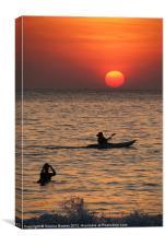 Kayaking at Sunset Palolem, Goa, India, Canvas Print
