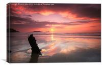 Sunset shipwreck, Canvas Print