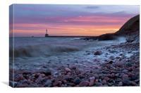 Aberdeen South breakwater light at dawn, Canvas Print