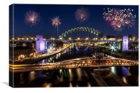 Newcastle Quayside Fireworks, Canvas Print