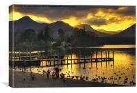 Last Light At Derwentwater, Canvas Print
