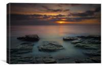 Sunset at Booby's bay Cornwall, Canvas Print