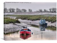 Frosty day at Glasson Dock., Canvas Print