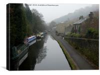 Misty Hebden bridge. , Canvas Print