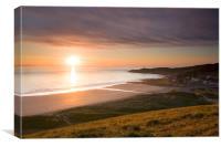 Sunset Woolacombe Beach, Canvas Print