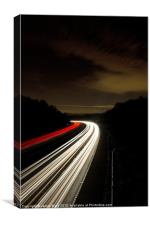 Motorway light trails at Crawley, Sussex, Canvas Print