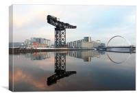 Crane and bridge reflection, Canvas Print