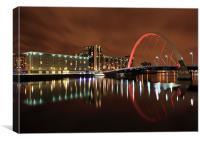 Clyde Arc bridge reflection, Canvas Print