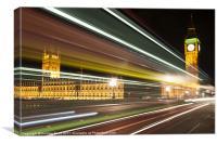 Big Ben and London Bus at Night, Canvas Print