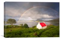 Applecross Red Roofed Cottage with Rainbows, Canvas Print