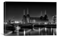Battersea black and white, Canvas Print