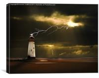 lighthouse and lightning storm, Canvas Print