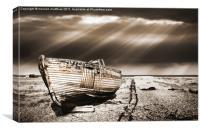 fishing boat graveyard toned, Canvas Print