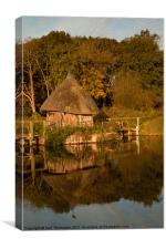 Fishing Hut on River Test, Canvas Print