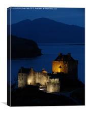 Eilean Donan Castle, Scotland, Night, Canvas Print