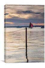 Red sail at sunset, Canvas Print
