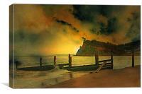 Shaldon cliffs, Canvas Print