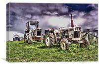 Three Tractors, Canvas Print