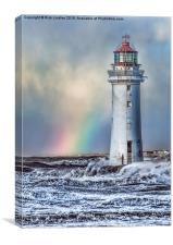 The Lighthouse and Rainbow, Canvas Print