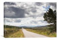 Clouds above remote Highland Road, Canvas Print