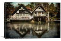 Boathouses at Goring on Thames, Canvas Print