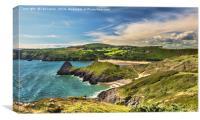 View Over Three Cliffs Bay, Canvas Print