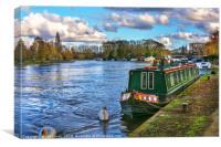Narrowboat Moored At Reading Riverside, Canvas Print