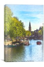 An Impressionist View Of Amsterdam, Canvas Print