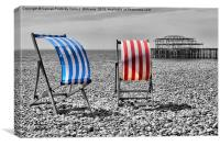 Red White And Blue - Brighton Beach, Canvas Print
