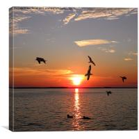 Wildfowl On Red Sunset, Canvas Print