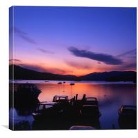 Boat Jetty  at sunset on  Windermere, Cumbria, UK, Canvas Print