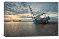 """Meols Sunset (Fishing Boat), Canvas Print"
