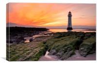 Sunset at Perch Rock Lighthouse, Canvas Print