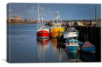 Fishing boats in harbour, Canvas Print