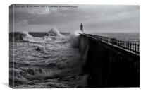 Stormy weather at Tynemouth, Canvas Print