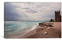 Sirmione public beach and Scaliger Castle, Canvas Print