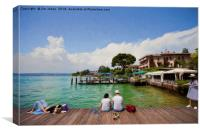Relaxing in the afternoon sunshine on Lake Garda, , Canvas Print
