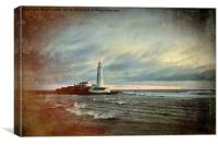 Artistic St Mary's Island and Lighthouse, Canvas Print