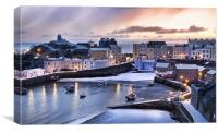Tenby Harbour in the Snow, Canvas Print