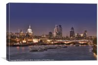London skyline and river Thames at night, Canvas Print