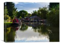 Narrowboats on the Grand Union Canal, Canvas Print