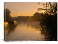 Misty morning on the Grand Union Canal, Canvas Print